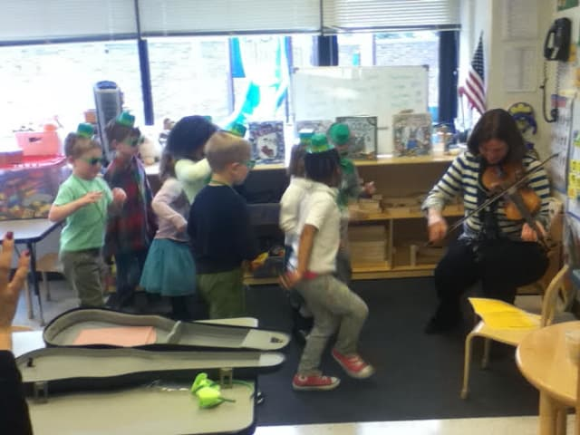 Preschoolers at The Chapel School in Bronxville celebrated St. Patrick's Day with food and dancing.