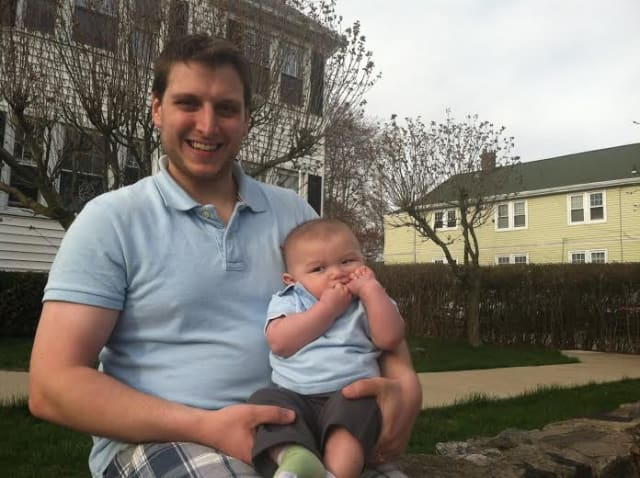 Stamford residents Jonathan Capasso and 6-month-old son Noah won't be watching a lunar eclipse early Tuesday because they will be sleeping. Cloudy skies may see no one able to view the 3 a.m. eclipse.