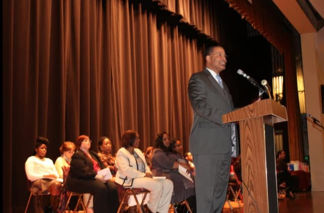 The Rev. Darren M. Morton, commissioner of the Mount Vernon Department of Recreation spoke at a ceremony for students with perfect attendance.