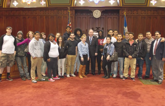 Students from Danbury's ACE program recently visited state Sen. Michael McLachlan in the state Capitol.