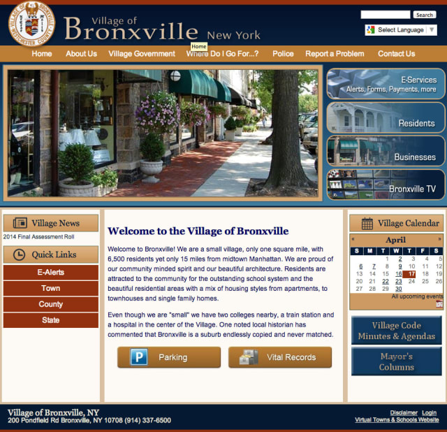 The village of Bronxville recently launched a new website.