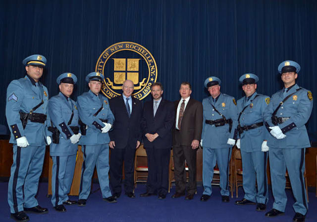 New Rochelle Police officers were sworn into their new ranks by Police Commissioner Patrick Carroll, City Manager Charles B. Strome, III, and New Rochelle Police Deputy Commissioner Anthony Murphy.