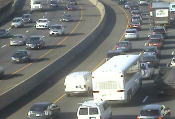 I-95 is busy in both directions Monday in the area of Indian Field Road in Greenwich.