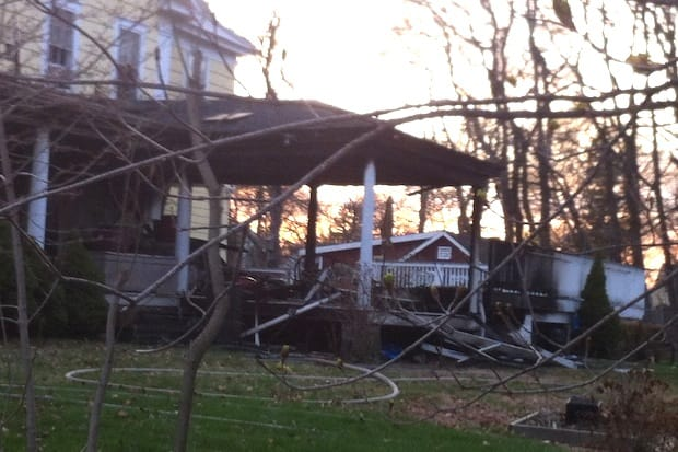 A porch on a house on William Street in Norwalk was destroyed by a fire Monday evening.