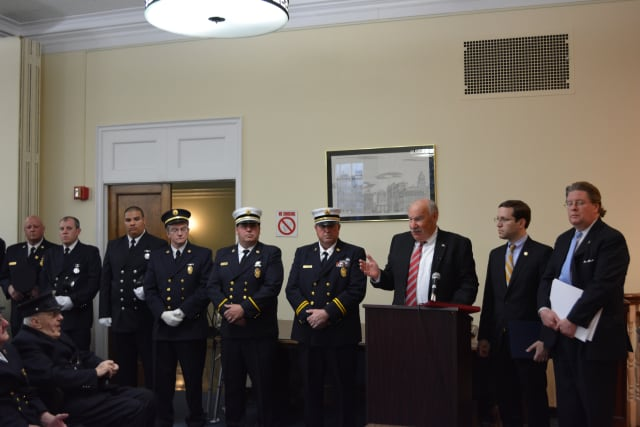 Members of the Mount Kisco Volunteer Fire Department's FAST Team were honored for their service at the village Board of Trustees meeting on Monday, April 21.