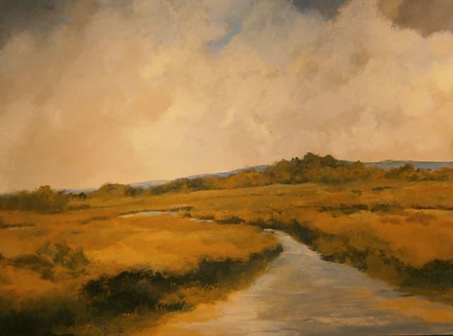 A landscape painting by New Britain painter Jim Grabowski