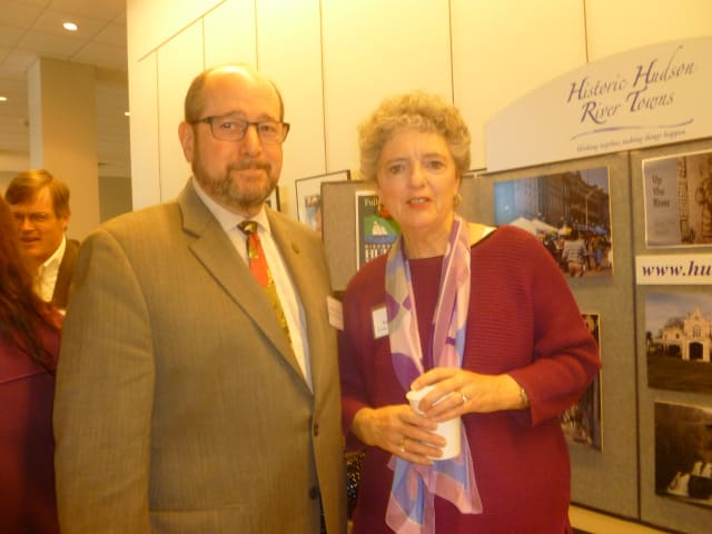 Ossining Mayor Bill Hanauer and Nancy Gold at a Downtown Revitalization Summit at the Ossining Library.