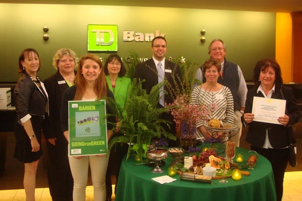 Darien Chamber of Commerce members, TD Bank staff and award winners at the Darien Going for Green awards ceremony.