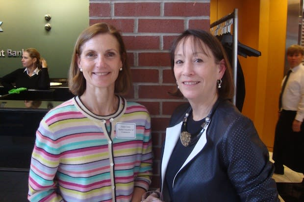 Susan Cator (left) with Carol Wilder-Tamme, who she will be replacing as the head of day-to-day operations at the Darien Chamber of Commerce.