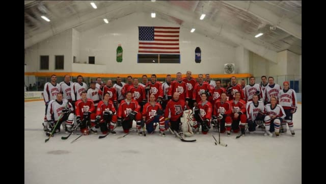 Members of the Ridgefield and Danbury fire department hockey teams will face off on Saturday, May 3.