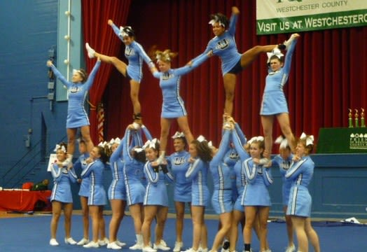 Westchester high school cheer teams have competed for many years but are now a recognized competitive sport in New York State public schools.