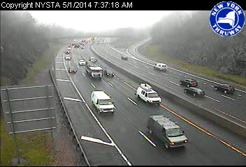 Traffic conditions on I-287 east near Hillside Avenue in White Plains just after 7:30 a.m. Thursday.