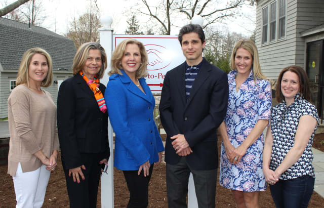 Left to Right: Opus Co-President Jen Forlizzi; Halstead Property Agents Eileen Hanford and Becky Munro; Dr. John Presti DDS; Opus Co-Presidents Tori Bolger and Renee Schwandt.