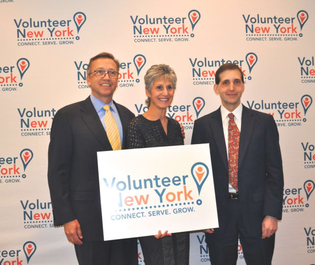 The Volunteer Center of United Way has announced it is changing its name to Volunteer New York. Pictured are Mark Rollins, Alisa H. Kesten and Scott Morrison.