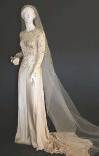 This wedding dress on display at the Darien Historical Society is from 1941.