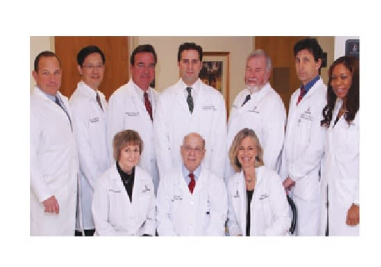 Seated, left to right: Maureen Kirk, RN, Dr. Ralph Pici and Mary Anne Rittenhouse, RN. Standing, left to right: Drs. Scott Haig, Naixi (Nelson) Li, Peter F. Rizzo, Douglas Unis, Patrick V. McMahon, Michael E. Elia and Dionne Bernadel, RN.