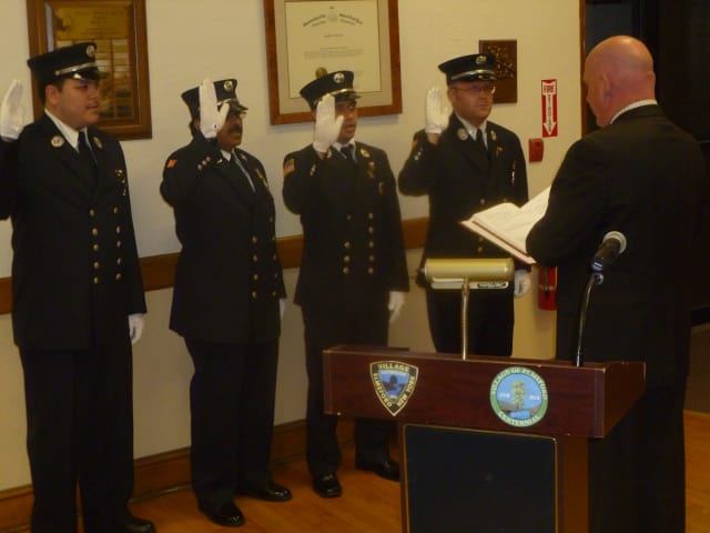 Elmsford Village Administrator Michael Mills administered the oath to Elmsford Fire Deparment officers and EMS officers.