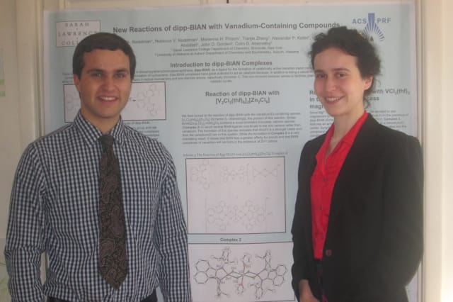 Sarah Lawrence College students Daniel, left, and Rebecca Nadelman display their poster which earned them an award at a chemistry symposium.