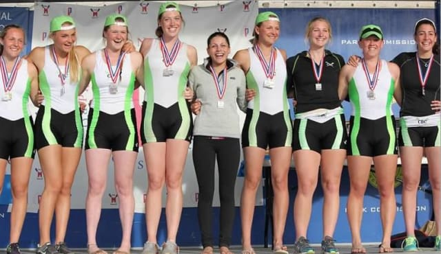 The girls varsity eight took second place at the Mercer Sprints in New Jersey.