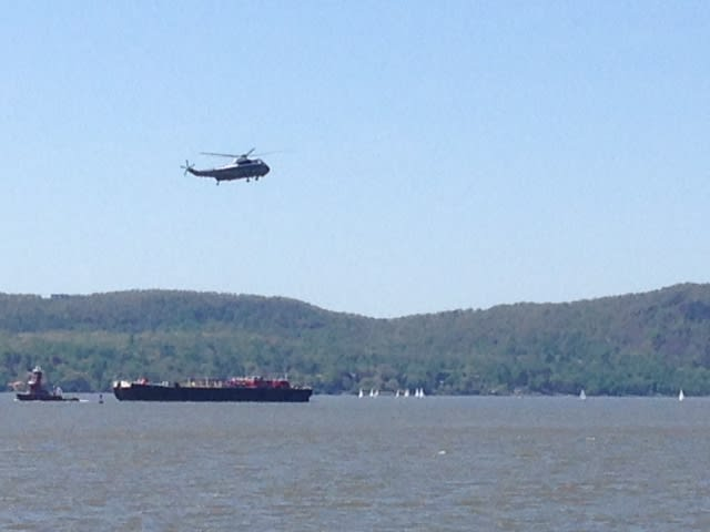 Helicopters made several visits and landings in Sleepy Hollow and Tarrytown Sunday, May 11 in preparation for President Barack Obama's visit.