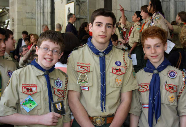 From left, Aidan Connolly, John Giantelli and Joseph Tesler pictured outside St. Patrick's Cathedral following the awards ceremony.