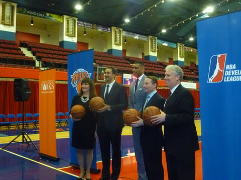 The name and logo for Westchester County's NBA Developmental League team will be unveiled at the County Center on Wednesday, May 14, at 6 p.m.