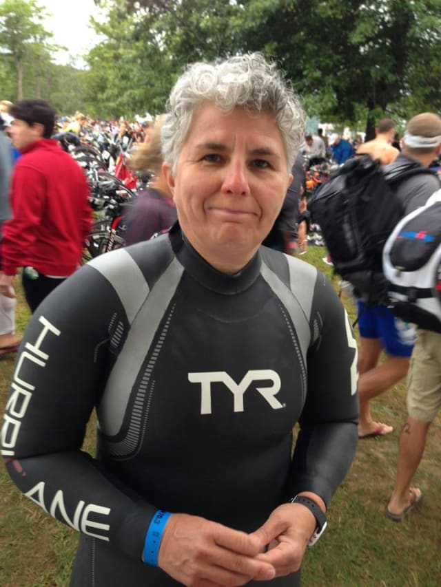 Fairfield resident Eniko Mikle before participating in the Ironman 70.3, Timberman, in New Hampshire last summer.