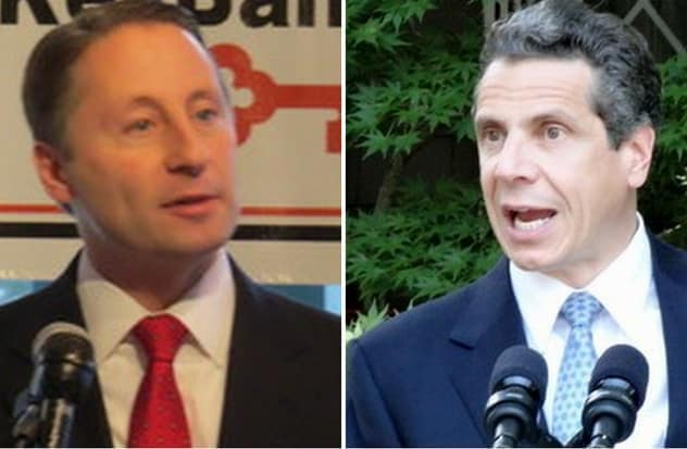 Rob Astorino, left, claims Gov. Andrew Cuomo's camp forced the county executive to sit in the back during President Barrack Obama's speech in Tarrytown on Wednesday, May 14.