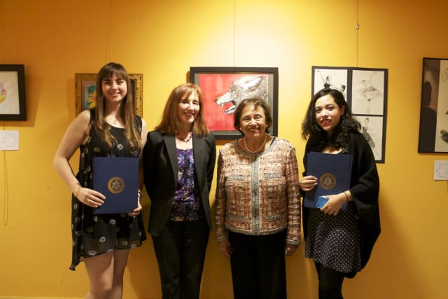 From left, first-place winner Chloe Giroux; Jean Newton, executive director of Westchester Music Conservatory; Rep. Nita Lowey; and honorable mention Krista Escaffi-Aguilar.