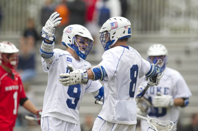 Case Matheis, a sophomore from Darien, scored three goals for Duke in a quarterfinal win Sunday, May 18, over Johns Hopkins.