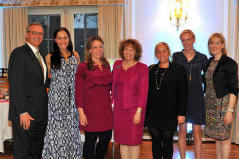Pictured, from left, are Brian Harrington, Jené Luciani, Keara Carr, Patricia Tursi, Kelly E. Jones, Esq., Alexandra Baker and Susan Quintin at the benefit in White Plains.