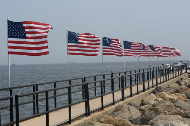 Fairfield is in the Memorial Day spirit, with flags lining the fishing pier on Jennings Beach in honor of the holiday.