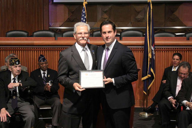State Sen. Greg Ball (R,C,I-Patterson) honored Vietnam Veteran Bill Nelson from Yorktown at the New York State Senate Veterans' Hall of Fame on May 19.
