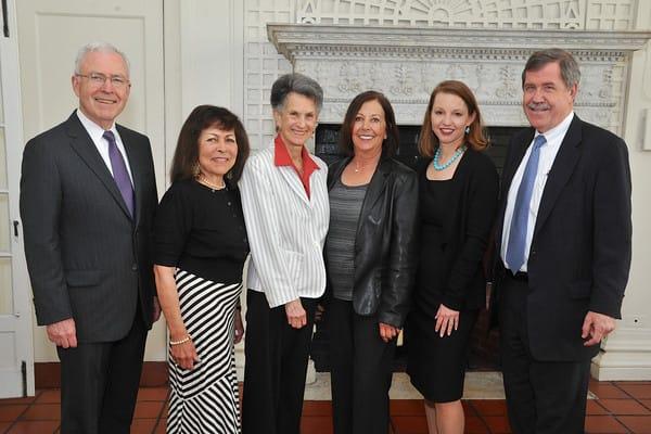 Michel Divney, chairman of the White Plains Hospital board of directors; Hazel Bigelow; Jill Haskel; Cindy Frenchman; hospital President Susan Fox; and CEO Jon B. Schandler.
