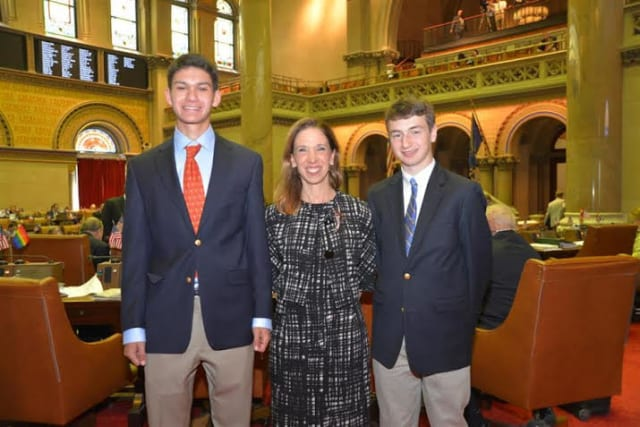 Scarsdale Assemblywoman Amy Paulin with students Daniel Wasserman (left) and Matt Drescher.