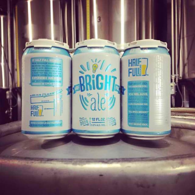 "Half Full Brewery starts distributing their ""Bright Ale"" beer in can."