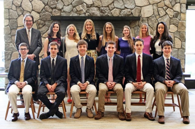 Pound Ridge's Sebastian Bates (Seated first on left) was inducted into St. Luke's Cum Laude Society recently.