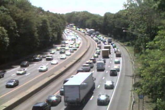 A tractor-trailer fire is snarling Interstate 95 southbound traffic in Fairfield County into Westchester.