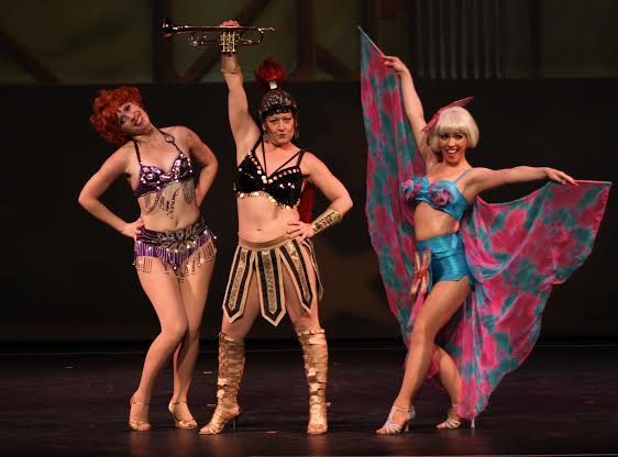 'Gypsy' tells the backstage story of the life of the world-famous stripper, Gypsy Rose Lee. Shown are Electra (Caitlin Roberts, Mazeppa (Heidi Giarlo) and Tessie Turra (Sarah Giggar).