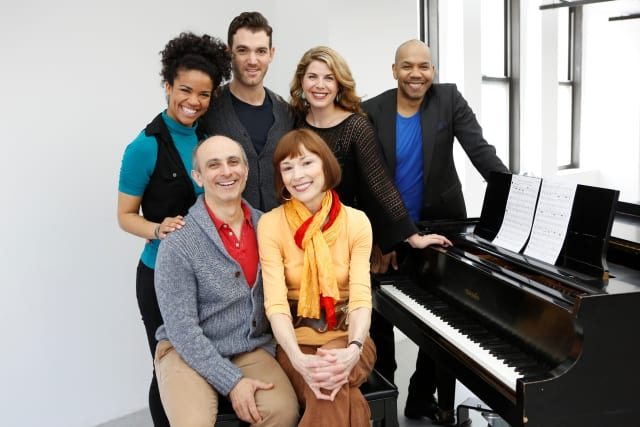 """From left, seated: Stephen DeRosa and Karen Akers; standing, Britney Coleman, Constantine Germanacos, Laurie Wells and Darius de Haas. All are in world premiere musical revue, """"Sing for Your Shakespeare,"""" June 3 to 22 at Westport Country Playhouse."""