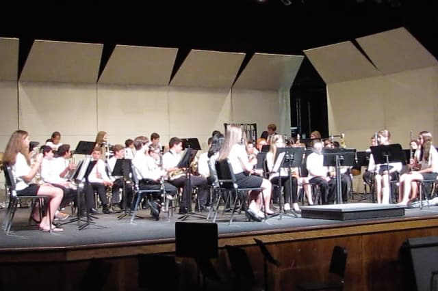 The Valhalla Middle School orchestra performs at the New York State School Music Association evaluation festival.