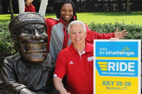 Stamford native and Sacred Heart University athletic director Bobby Valentine, right, and the school's Director of Promotions Tiana Williams, announce Valentine's role as honorary chair for the CT Challenge.
