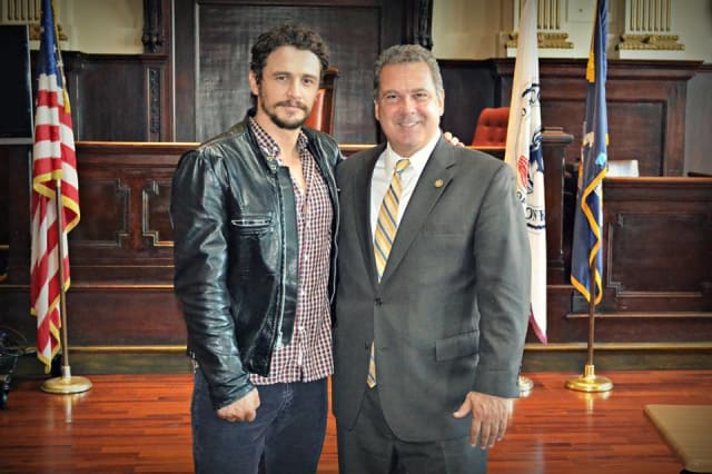 Yonkers Mayor gets a photo op with actor James Franco.