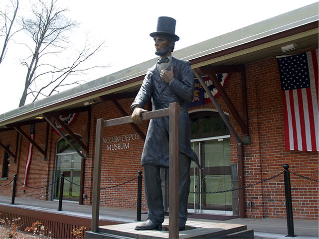 A flagpole will join the Abraham Lincoln statue at the Lincoln Depot Museum in Peekskill.