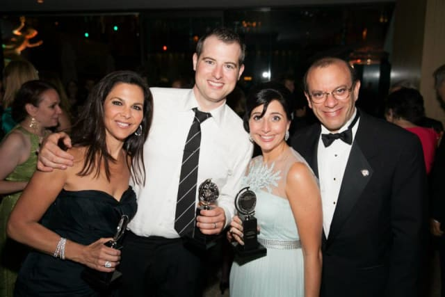 """Joey Parnes of Yonkers, far right, accepted the Tony Award for Best Musical for """"A Gentleman's Guide To Love and Murder."""""""