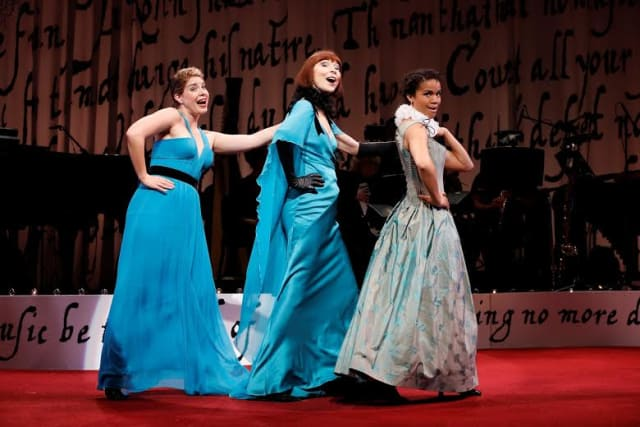 """L-R: Laurie Wells, Karen Akers, and Britney Coleman in """"Sing for Your Shakespeare,"""" directed by Mark Lamos, at Westport Country Playhouse."""