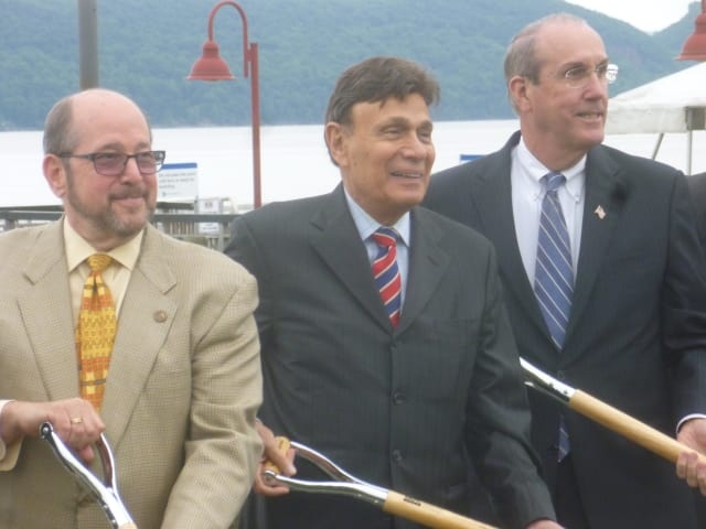 Ossining Mayor Bill Hanauer, Martin Ginsburg and Deputy County Executive Kevin Plunkett at a groundbreaking for Harbor Square.