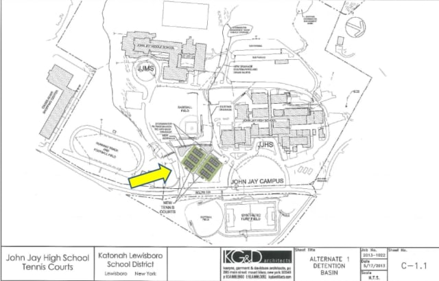 A screen shot of a map showing where the proposed John Jay campus tennis courts would go.