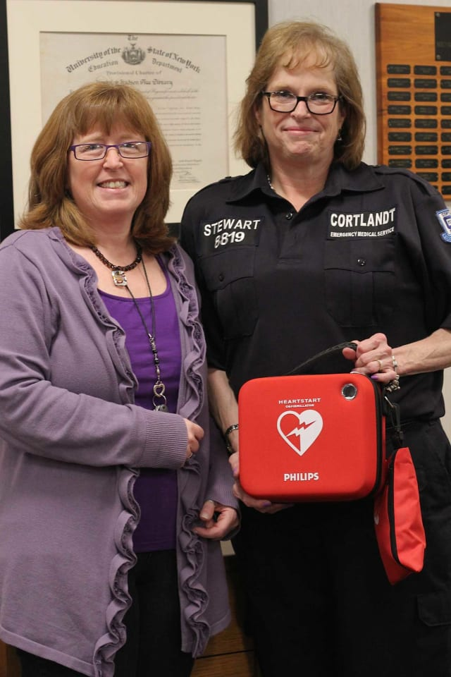 The Cortlandt Community Volunteer Ambulance Corps recently donated a defibrillator to the Hendrick Hudson Free Library.