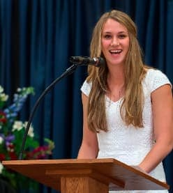 Lillian Brouwer of Stamford delivered the valedictorian address at The Harvey School's commencement Thursday, June 5